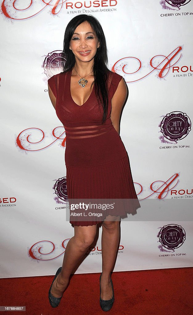 Adult film actress Katsuni arrives for the Premiere Of 'Aroused' held at Landmark Nuart Theatre on May 1, 2013 in Los Angeles, California.
