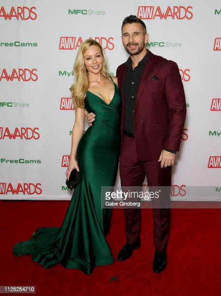 Adult film actress Kayden Kross and adult film actor/director Manuel Ferrara attend the 2019 Adult Video News Awards at The Joint inside the Hard...