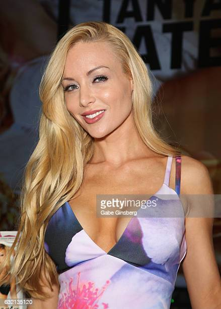 Adult film actress Kayden Kross appears at the Fleshlight booth during the 2017 AVN Adult Entertainment Expo at the Hard Rock Hotel Casino on January...