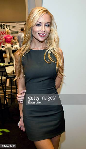 Adult film actress Kayden Kross appears at the Yummi booth at the 2017 AVN Adult Entertainment Expo at the Hard Rock Hotel Casino on January 18 2017...