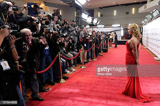 Adult film actress Kayden Kross is photographed as she arrives at the 28th annual Adult Video News Awards Show at the Palms Casino Resort January 8...