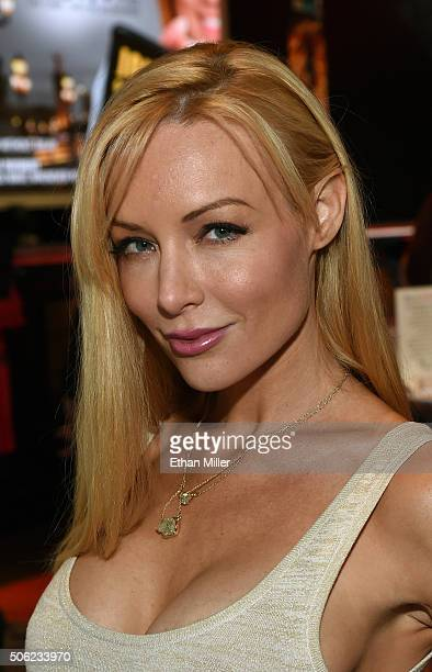 Adult film actress Kayden Kross poses at the Evil Angel booth at the 2016 AVN Adult Entertainment Expo at The Joint inside the Hard Rock Hotel Casino...