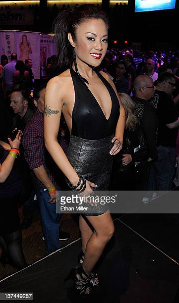 Adult film actress Kaylani Lei appears during an autograph signing for Wicked Pictures at the 2012 AVN Adult Entertainment Expo at The Joint inside...