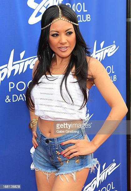 Adult film actress Kaylani Lei poses at the Sapphire Pool Day Club grand opening party on May 5 2013 in Las Vegas Nevada