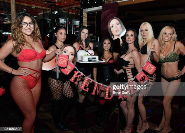 Adult film actress Kendra Lust is presented a birthday cake during her birthday party celebration at Crazy Horse 3 Gentlemen's Club on September 15...