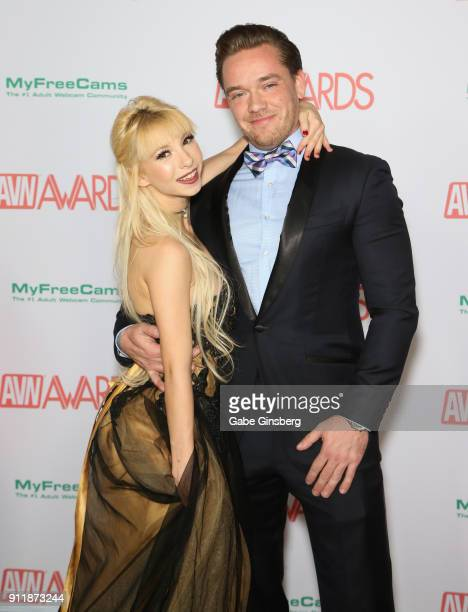 Adult film actress Kenzie Reeves and adult film actor Kyle Mason attend the 2018 Adult Video News Awards at the Hard Rock Hotel Casino on January 27...