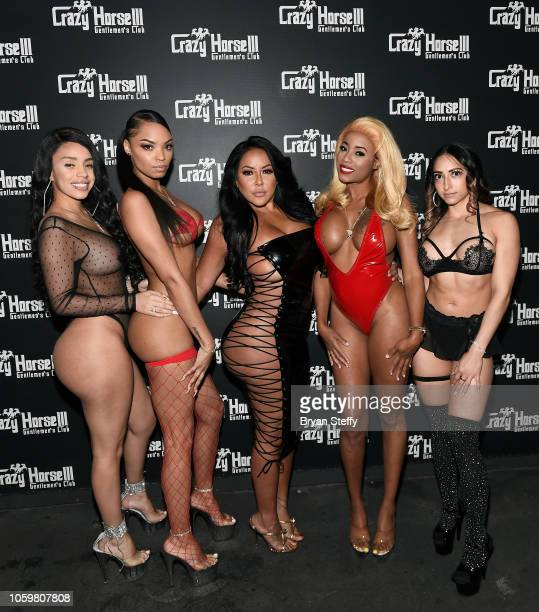 Adult film actress Kiara Mia and Crazy Horse 3 entertainers attend a late-night party at the Crazy Horse III Gentlemen's Club on November 9, 2018 in...
