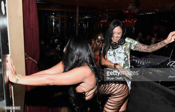 Adult film actress Kiara Mia and DJ CLA attend a latenight party at the Crazy Horse III Gentlemen's Club on November 9 2018 in Las Vegas Nevada