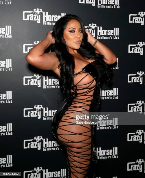 Adult film actress Kiara Mia arrives at the Crazy Horse 3 Gentlemen's Club to host a party on November 10 2018 in Las Vegas Nevada