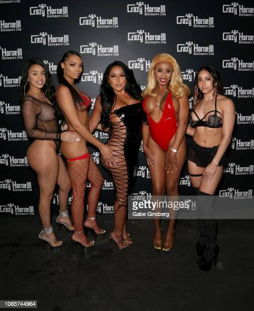 Adult film actress Kiara Mia poses with Crazy Horse 3 entertainers at the Crazy Horse 3 Gentlemen's Club to host a party on November 10, 2018 in Las...