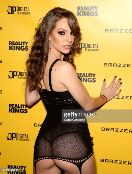 Adult film actress Kimmy Granger poses in the Brazzers booth during the 2019 AVN Adult Entertainment Expo at the Hard Rock Hotel & Casino on January...