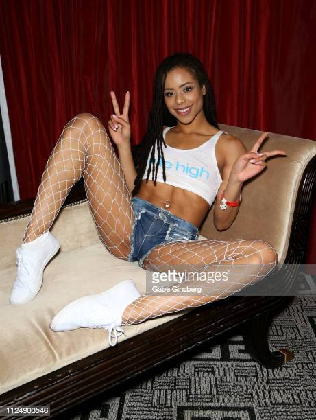 Adult film actress Kira Noir poses in the press room at the 2019 AVN Adult Entertainment Expo at the Hard Rock Hotel Casino on January 25 2019 in Las...