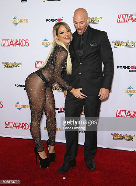 Adult film actress Kissa Sins and adult film actor Johnny Sins attend the 2016 Adult Video News Awards at the Hard Rock Hotel Casino on January 23...
