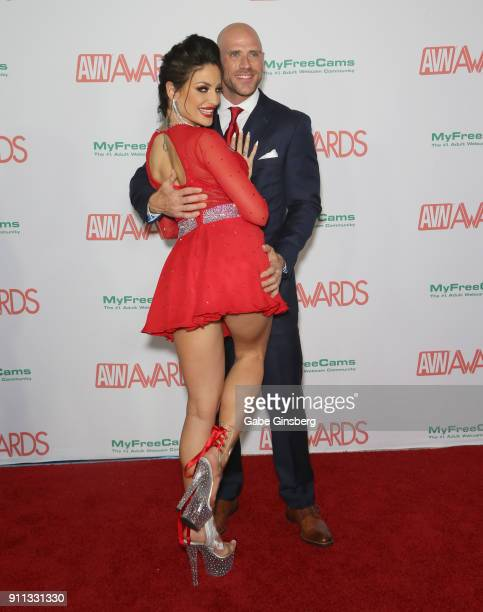 Adult film actress Kissa Sins and adult film actor Johnny Sins attend the 2018 Adult Video News Awards at the Hard Rock Hotel Casino on January 27...