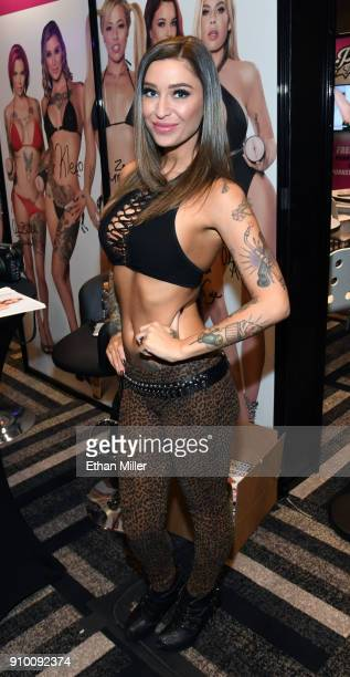 Adult film actress Kleio Valentien poses at the Pornstar Signature Series booth at the 2018 AVN Adult Entertainment Expo at the Hard Rock Hotel...