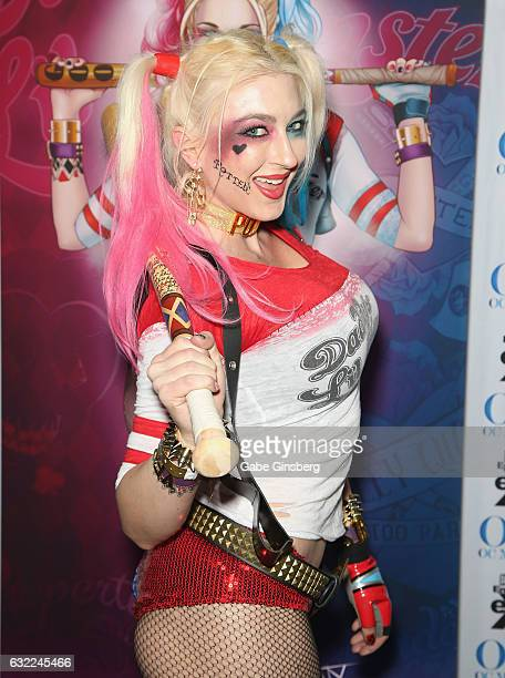 Adult film actress Leya Falcon dressed as the character Whorley Quinn attends the 2017 AVN Adult Entertainment Expo at the Hard Rock Hotel Casino on...