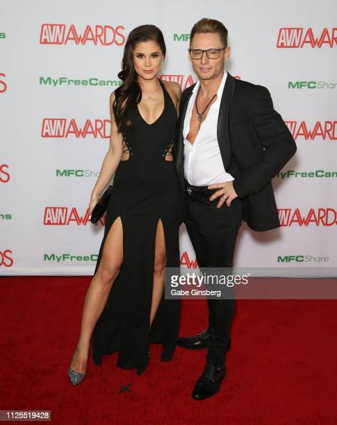 Adult film actress Little Caprice and adult film actor Marcello Bravo attend the 2019 Adult Video News Awards at The Joint inside the Hard Rock Hotel...