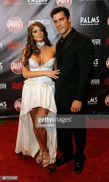 Adult film actress Madelyn Marie and adult film actor Ramon Nomar arrive at the 27th annual Adult Video News Awards Show at the Palms Casino Resort...