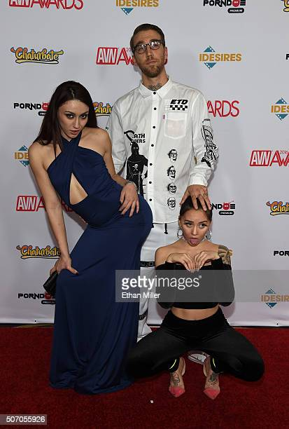 Adult film actress Mandy Muse adult film director Bryan Gozzling and Rhianna Yates attend the 2016 Adult Video News Awards at the Hard Rock Hotel...