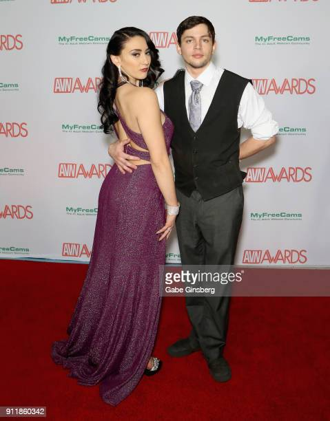 Adult film actress Mandy Muse and adult film actor Alex D attend the 2018 Adult Video News Awards at the Hard Rock Hotel Casino on January 27 2018 in...
