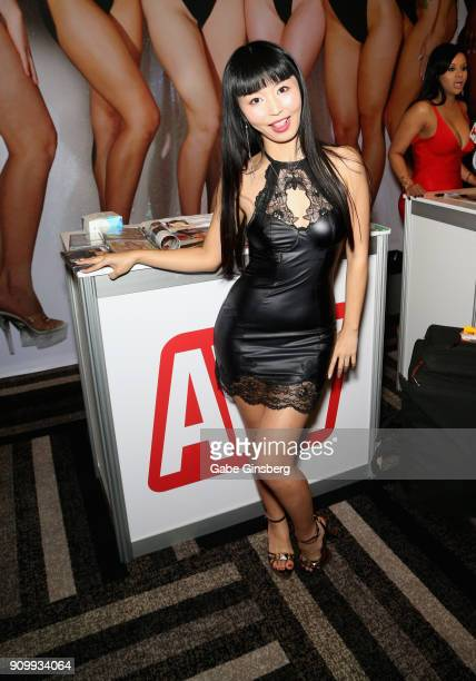 Adult film actress Marica Hase poses at the AVN booth during the 2018 AVN Adult Expo at the Hard Rock Hotel Casino on January 24 2018 in Las Vegas...