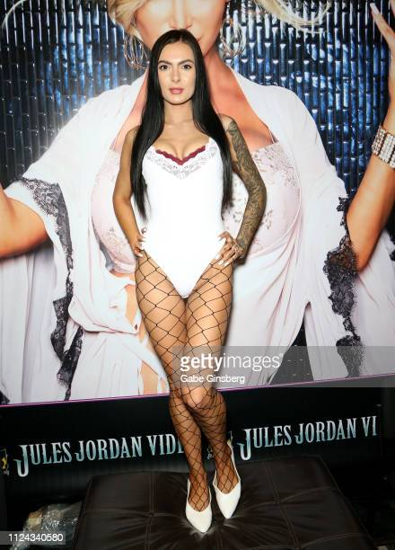 Adult film actress Marley Brinx poses in the Jules Jordan Video booth during the 2019 AVN Adult Entertainment Expo at the Hard Rock Hotel Casino on...