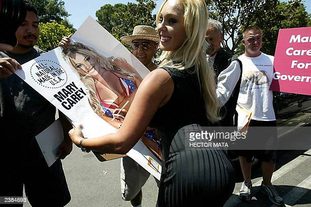 Adult film actress Mary Carey arrives at the Los Angeles County Registrar's Office in Norwalk CA to register her candidacy during the last day to...