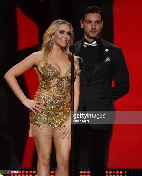 Adult film actress Mia Malkova and adult film actor Ryan Driller present an award during the 2018 Adult Video News Awards at The Joint inside the...
