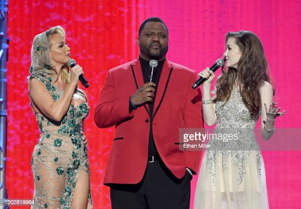 Adult film actress Nikki Benz actor/comedian Aries Spears and webcam model Emily Bloom cohost the 2020 Adult Video News Awards at The Joint inside...