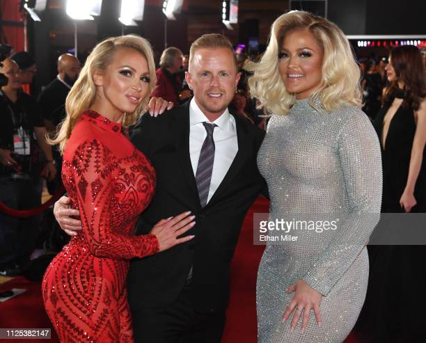 Adult film actress Nikki Benz adult film producer/director Jules Jordan and adult film actress/director Alexis Texas attend the 2019 Adult Video News...