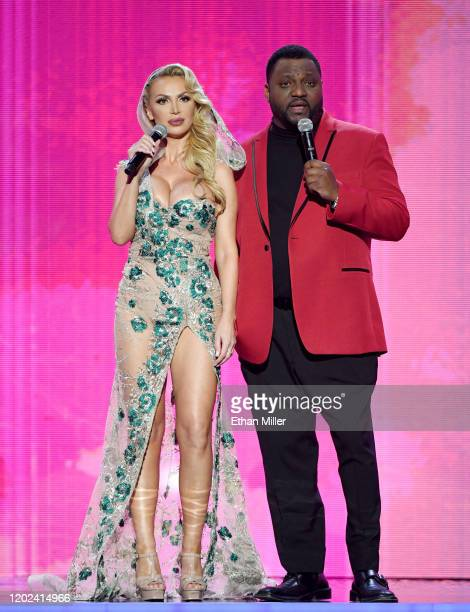 Adult film actress Nikki Benz and actor/comedian Aries Spears cohost the 2020 Adult Video News Awards at The Joint inside the Hard Rock Hotel Casino...
