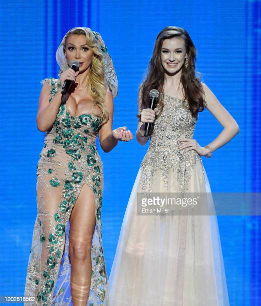 Adult film actress Nikki Benz and webcam model Emily Bloom cohost the 2020 Adult Video News Awards at The Joint inside the Hard Rock Hotel Casino on...