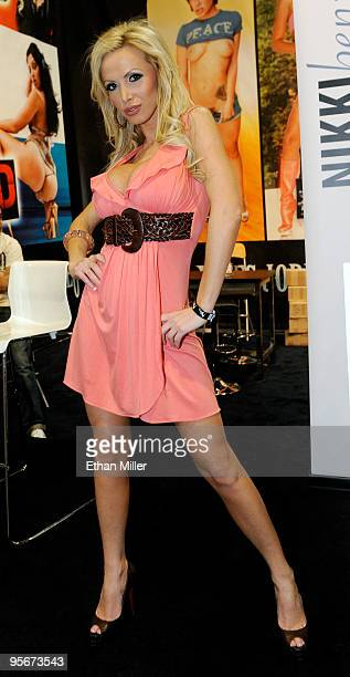 Adult film actress Nikki Benz appears at the Jules Jordan Video booth at the 2010 AVN Adult Entertainment Expo at the Sands Expo and Convention...