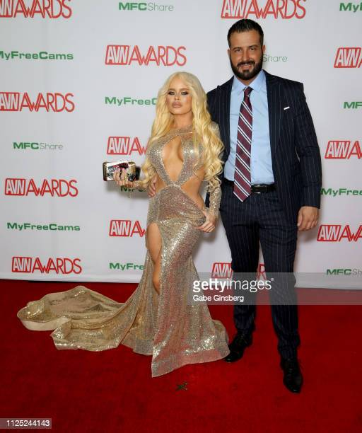 Adult film actress Nikki Delano and adult film actor Romeo Mancini attend the 2019 Adult Video News Awards at The Joint inside the Hard Rock Hotel...