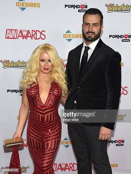 Adult film actress Nikki Delano and adult film actor/producer Romeo Mancini attend the 2016 Adult Video News Awards at the Hard Rock Hotel Casino on...