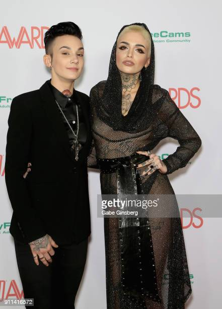 Adult film actress Nikki Hearts and adult film actress/director Leigh Raven attend the 2018 Adult Video News Awards at the Hard Rock Hotel Casino on...