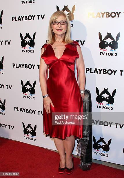 Adult Film Actress Nina Hartley arrives at Playboy TV's TV For 2 exclusive TCA event at The Playboy Mansion on July 27 2011 in Beverly Hills...