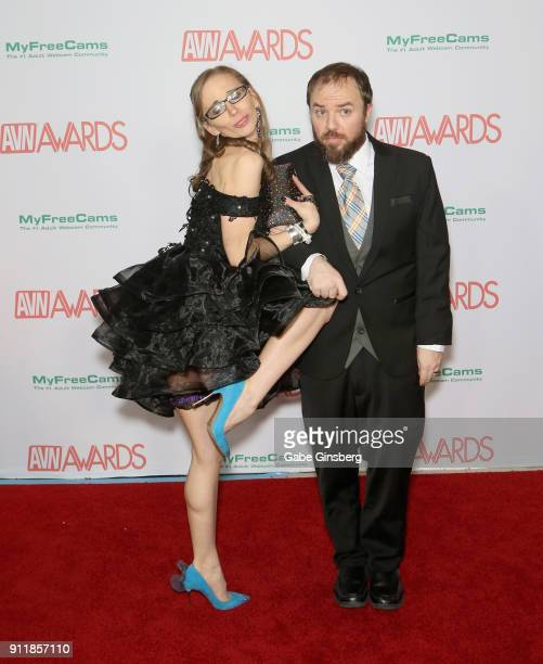 Adult film actress Norah Nova and Oliver Star joke around during the 2018 Adult Video News Awards at the Hard Rock Hotel Casino on January 27 2018 in...