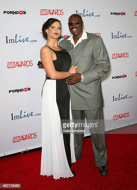 Adult film actress Phoenix Marie and adult film actor/director Lexington Steele arrive at the 2015 Adult Video News Awards at the Hard Rock Hotel...
