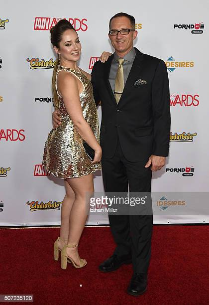 Adult film actress Remy LaCroix and a guest attend the 2016 Adult Video News Awards at the Hard Rock Hotel Casino on January 23 2016 in Las Vegas...