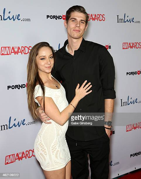 Adult film actress Remy LaCroix and Zach Hexamer arrive at the 2015 Adult Video News Awards at the Hard Rock Hotel Casino on January 24 2015 in Las...