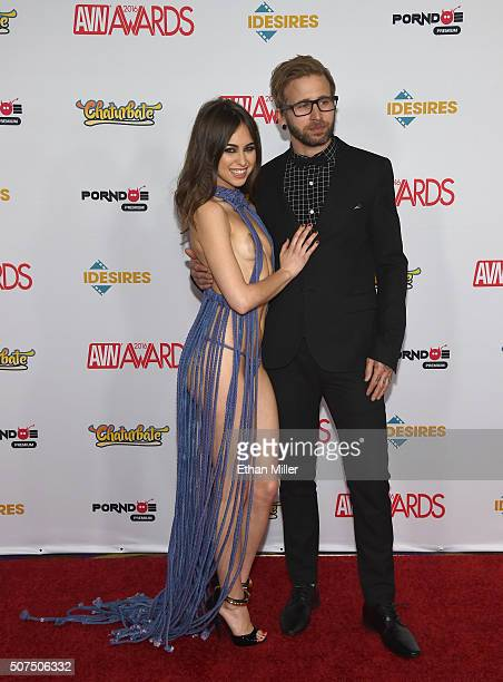 Adult film actress Riley Reid and musician Josh Mayer attend the 2016 Adult Video News Awards at the Hard Rock Hotel Casino on January 23 2016 in Las...