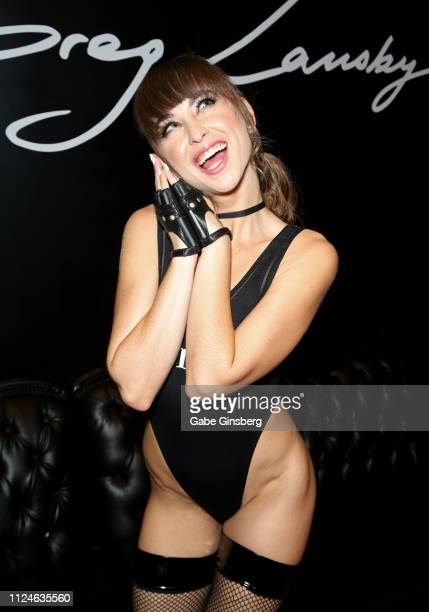Adult film actress Riley Reid poses in Greg Lansky's Blacked Tushy and Vixen adult studios booth at the 2019 AVN Adult Entertainment Expo at the Hard...