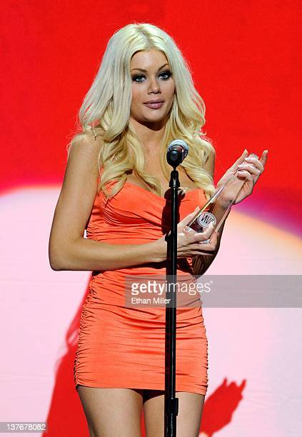 Adult film actress Riley Steele accepts an award during the 29th annual Adult Video News Awards Show at The Joint inside the Hard Rock Hotel Casino...