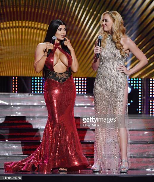 Adult film actress Romi Rain and webcam model Bailey Rayne cohost the 2019 Adult Video News Awards at The Joint inside the Hard Rock Hotel Casino on...