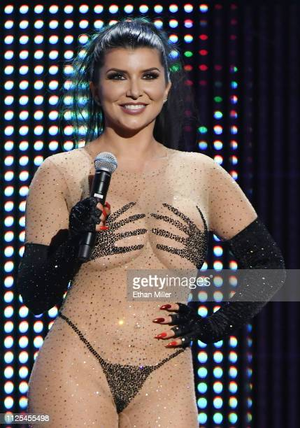 Adult film actress Romi Rain cohosts the 2019 Adult Video News Awards at The Joint inside the Hard Rock Hotel Casino on January 26 2019 in Las Vegas...