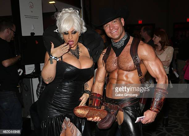 Adult film actress Samantha Mack and adult performance artist Brent Ray Fraser attend the 2015 AVN Adult Entertainment Expo at the Hard Rock Hotel...