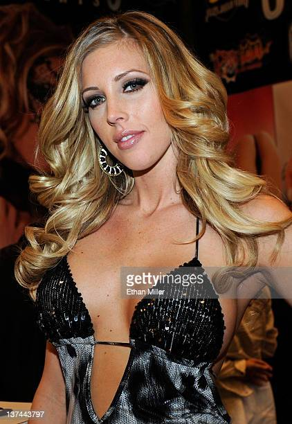 Adult film actress Samantha Saint appears at the Jules Jordan Video booth at the 2012 AVN Adult Entertainment Expo at the Hard Rock Hotel Casino...