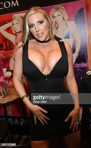 Adult film actress Samantha Saint appears at the Jules Jordan Video booth at the 2017 AVN Adult Entertainment Expo at the Hard Rock Hotel Casino on...