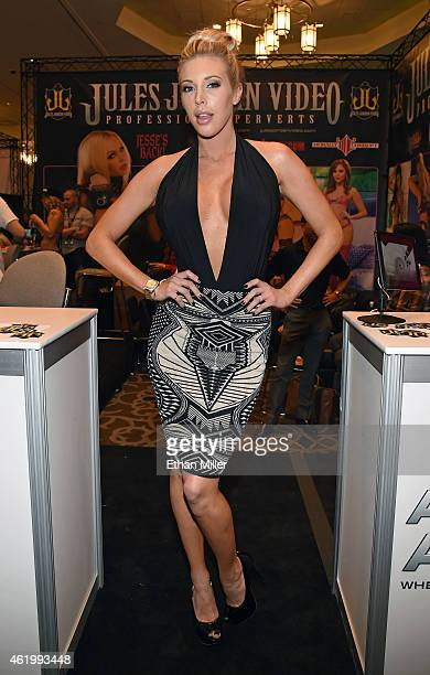 Adult film actress Samantha Saint poses at the Jules Jordan Video booth at the 2015 AVN Adult Entertainment Expo at the Hard Rock Hotel Casino on...